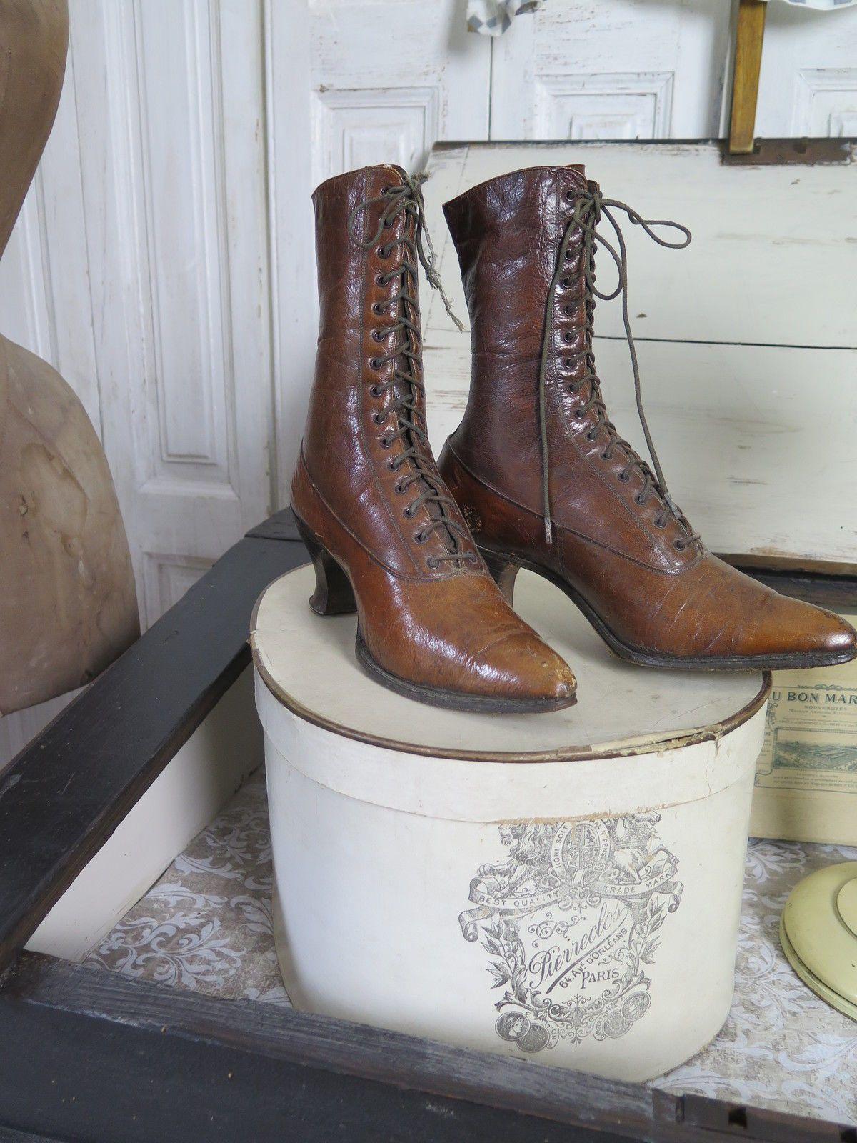 viktorianische schn rstiefel antike schuhe leder victorian boots shabby ebay accessoires. Black Bedroom Furniture Sets. Home Design Ideas