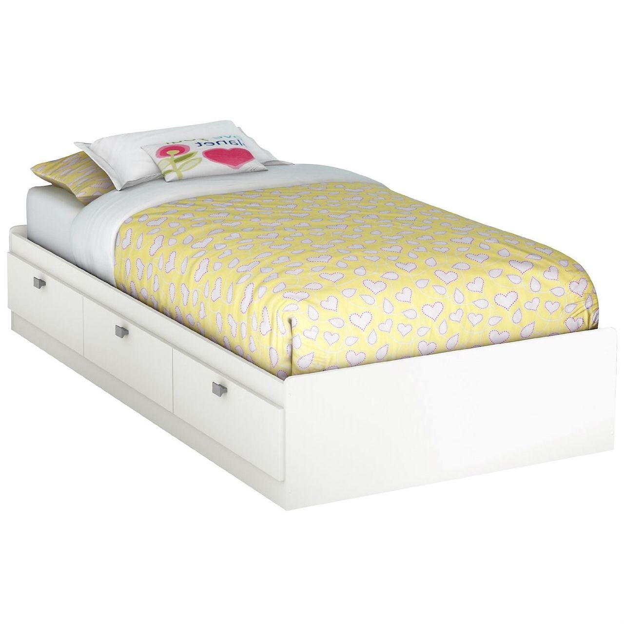 Twin White Platform Bed For Kids Teens Adults With 3 Storage