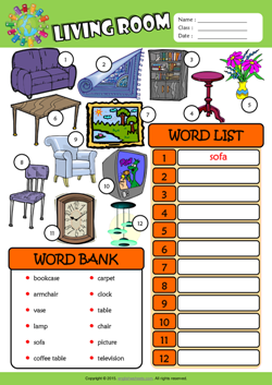 Living Room ESL Find And Write The Words Worksheet For Kids Part 52