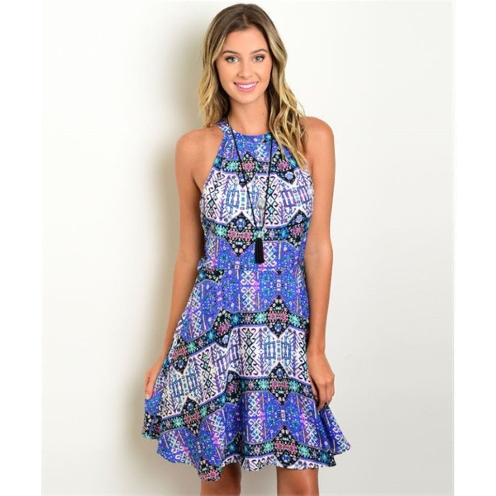 Women's Dress Casual Sleeveless Printed Summer Dress