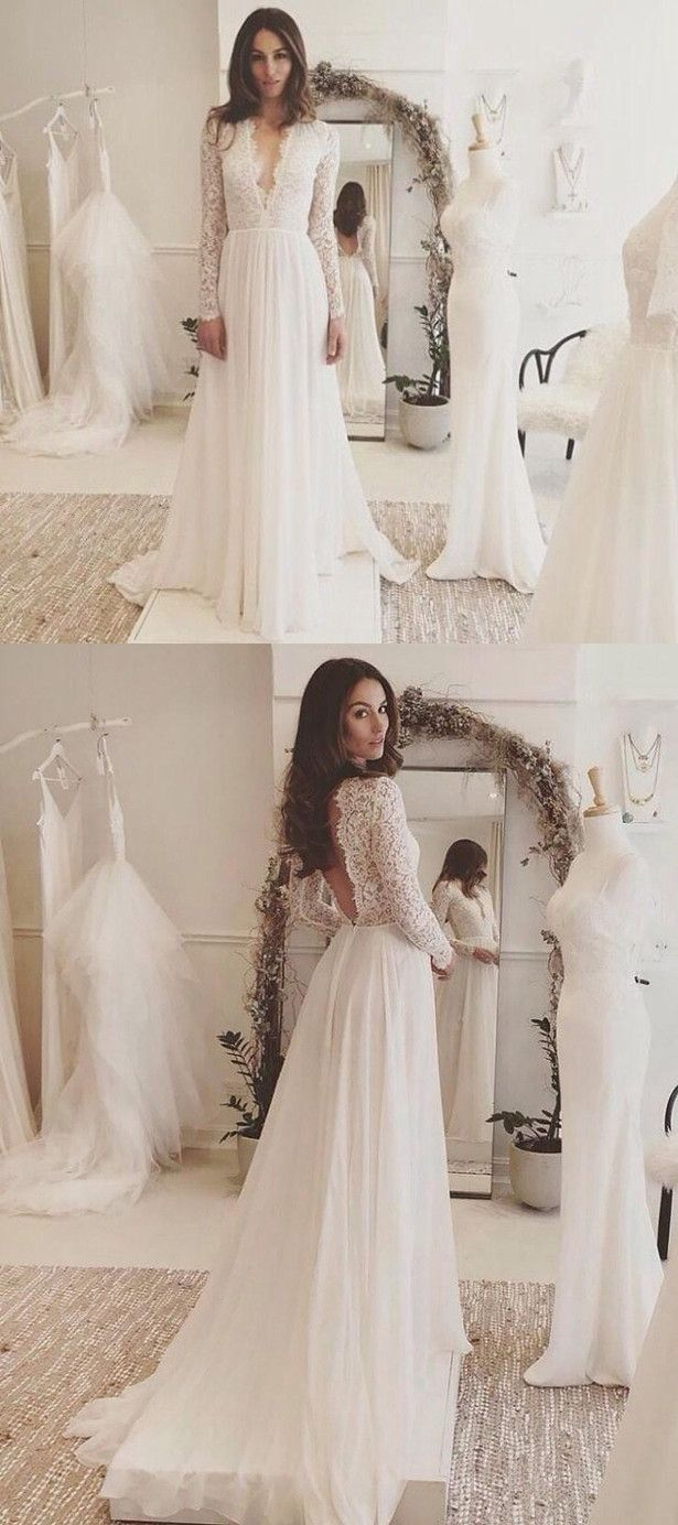 Sexy chiffon long sleeve wedding dresslace vneck sweep train