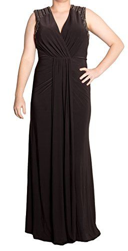 Xscape Women's Embellished Open-Back Surplice Ruched Gown Black (10) only $59 (was $209) #formal #gown #black