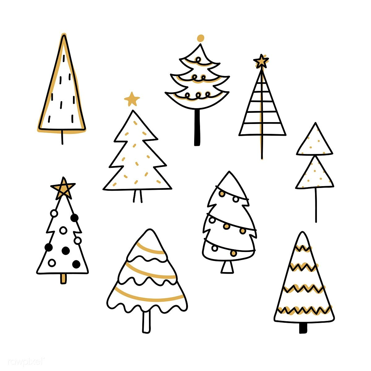 Download Premium Vector Of Christmas Pine Tree Pattern Background Drawing Christmas Tree Drawing Christmas Doodles Tree Doodle