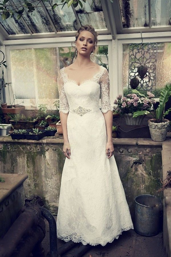 2014 New White/Ivory Half-sleeve Lace Wedding dress Bridal gown Custom size