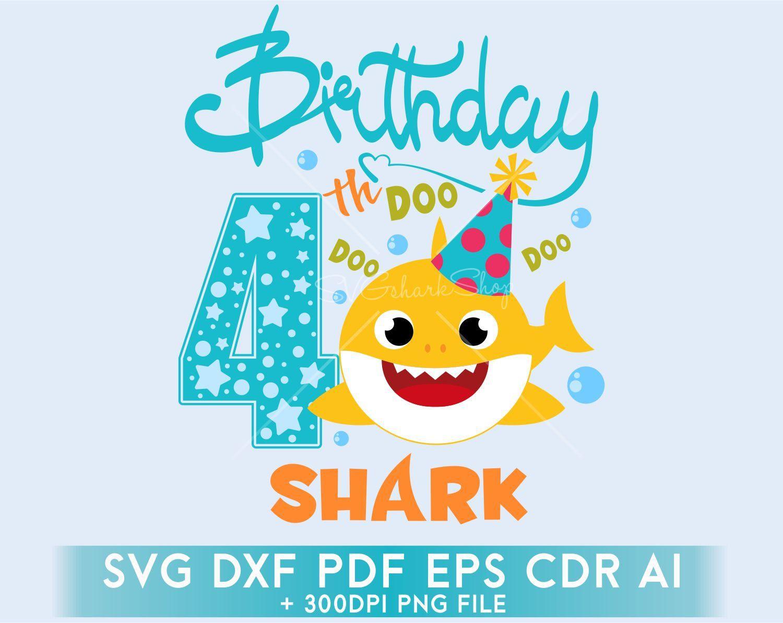 Birthday Shark SVG clipart, 4th birsthday boy Shark SVG