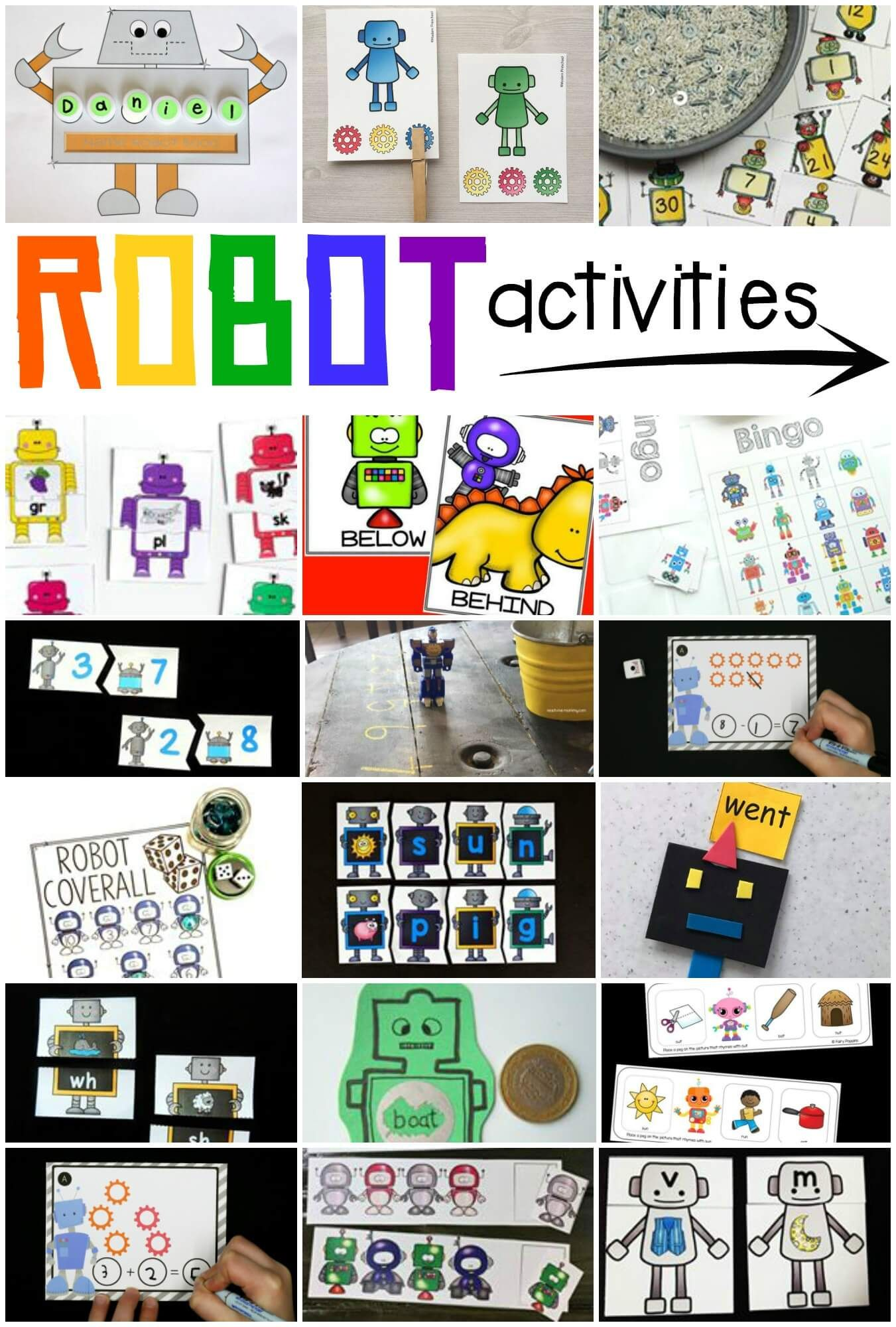 Robot Addition Cards Playdough To Plato Robots Preschool Robot Activity Robot Theme [ 2000 x 1351 Pixel ]