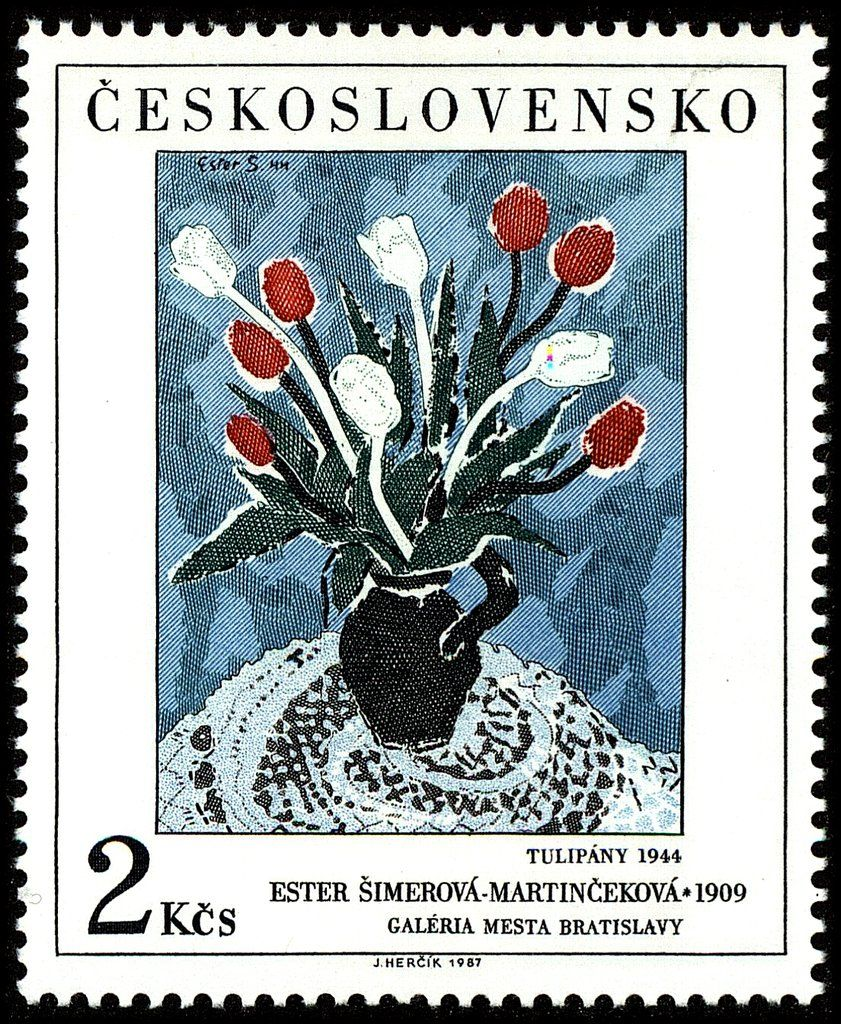 Stamp tulips by ester simerovamartincekova czechoslovakia art