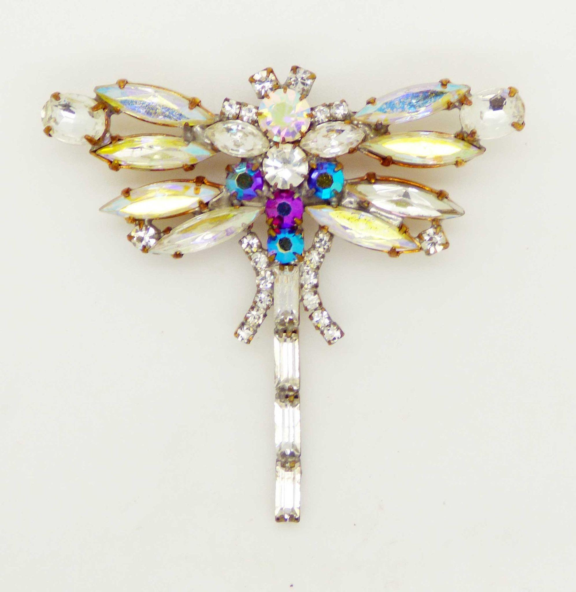 Czech Glass AB Rhinestone Dragonfly Brooch, Figural Pin