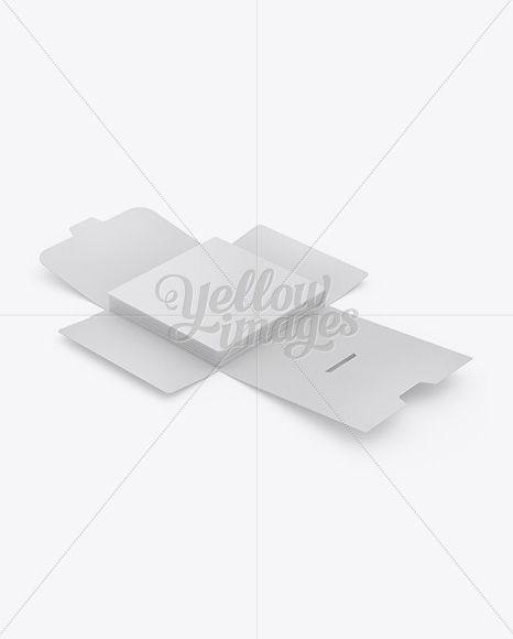 Opened Square Paper Brief Case w/ Post Cards Mockup - Halfside View