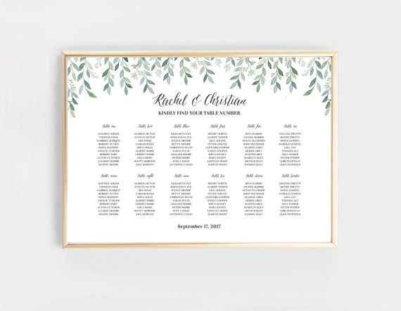 Botanical seating chart printable digital etsy juliahartliebdesign also rh pinterest