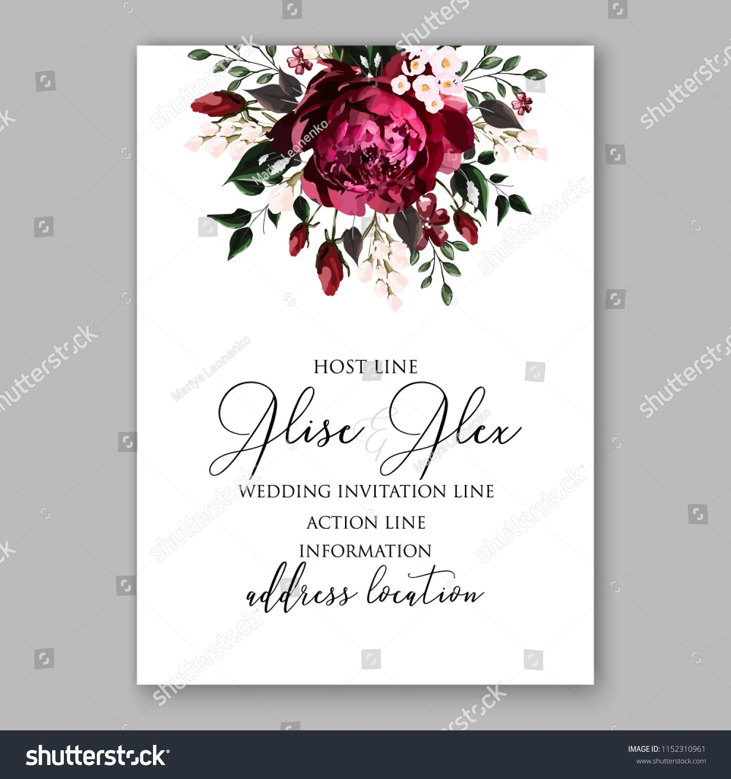 Marsala Dark Red Peony Wedding Invitation Vector Floral