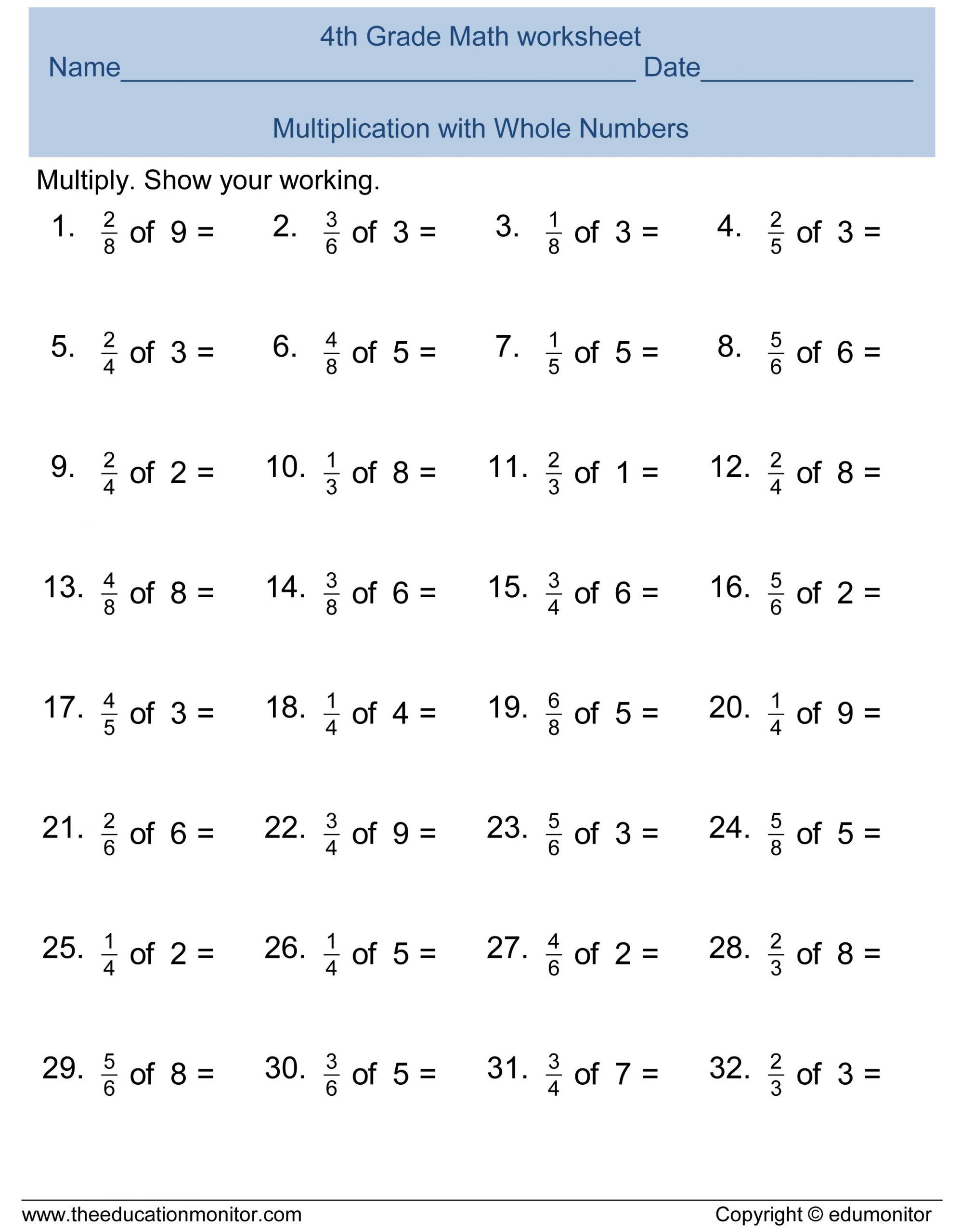 2nd Grade Fractions Worksheet Free 4th Grade Fractions