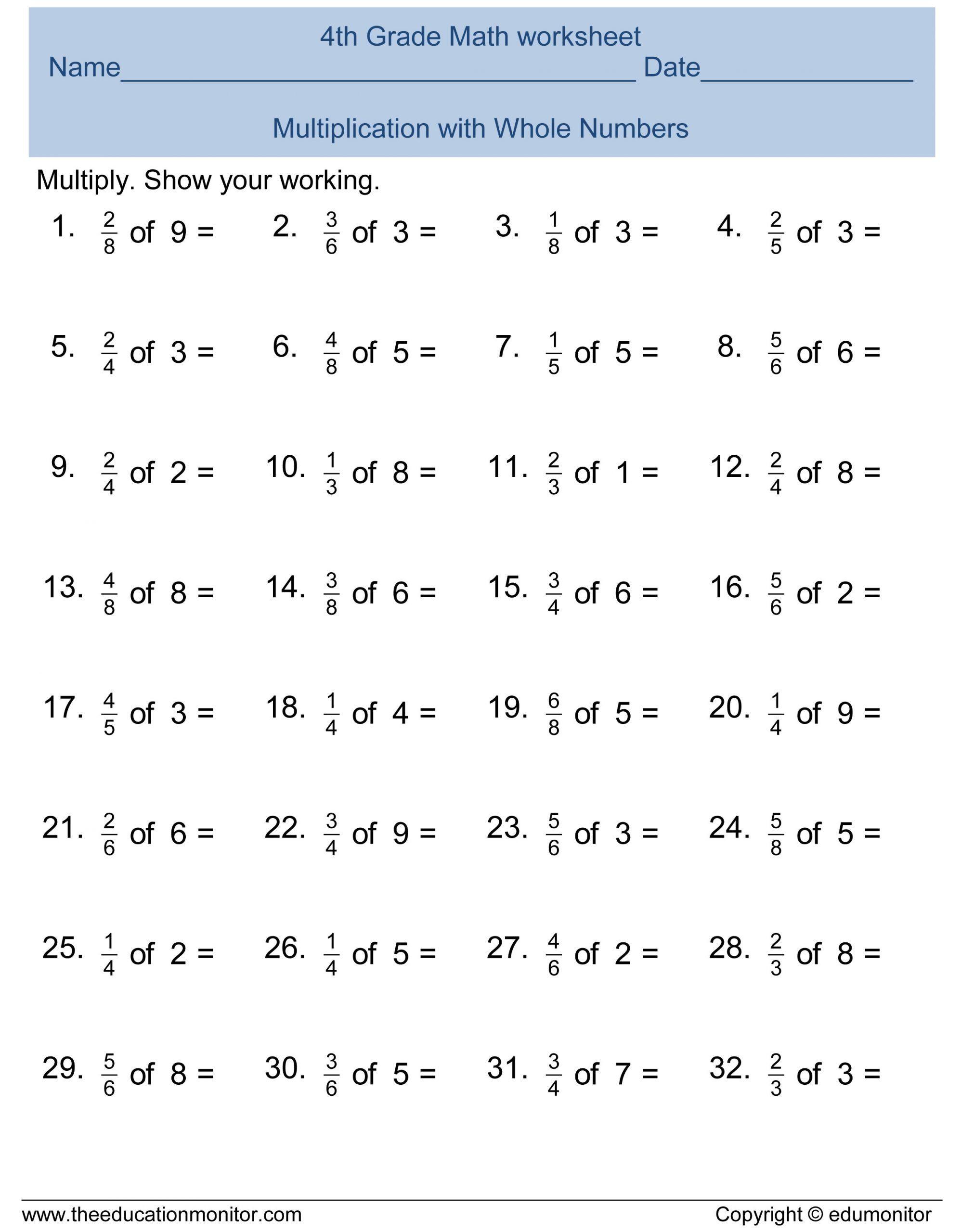 2nd Grade Fractions Worksheet Free 4th Grade Fractions
