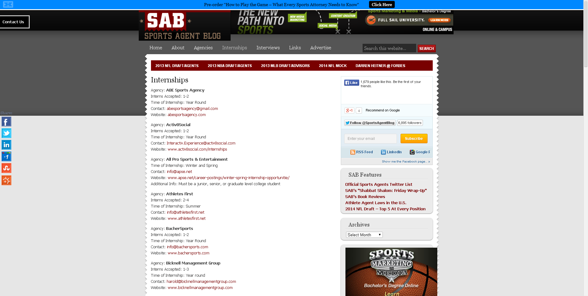 Sports Agent Blog that provides the website and contact