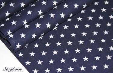 Sterne Baumwollstoff dunkelblau/ marine weiß