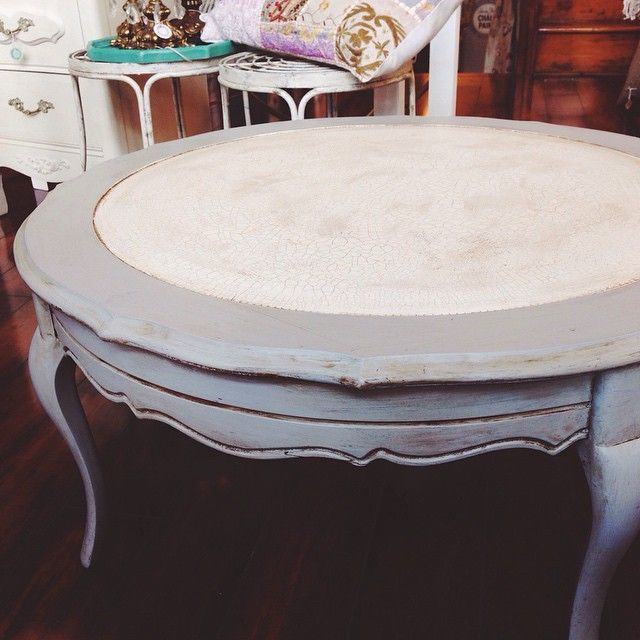 Vintage Leather Top Coffee Table Refinished With Chalk Paint By Annie Sloan  In Paris Grey,
