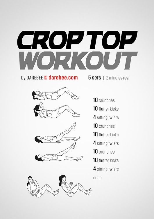 Crop Top Workout #AbWorkouts | Health | Darebee, Workout for