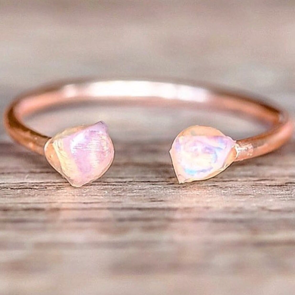 Rose Gold Raw Opal Ring    Available in our 'NEW' Collection    www.indieandharper.com