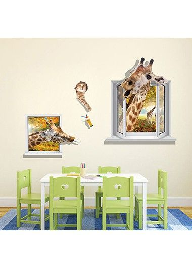 3D Giraffe Pattern Multi Color Wall Sticker