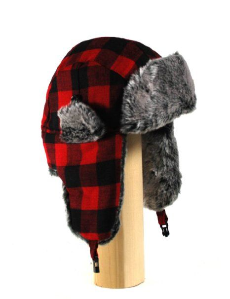 6320e53f3a0 Amazon.com  W220E RED Buffalo Plaid Checker Pilot Trapper Hat with Soft Faux  Fur for Womens and Mens one size fits up to a large head  Clothing