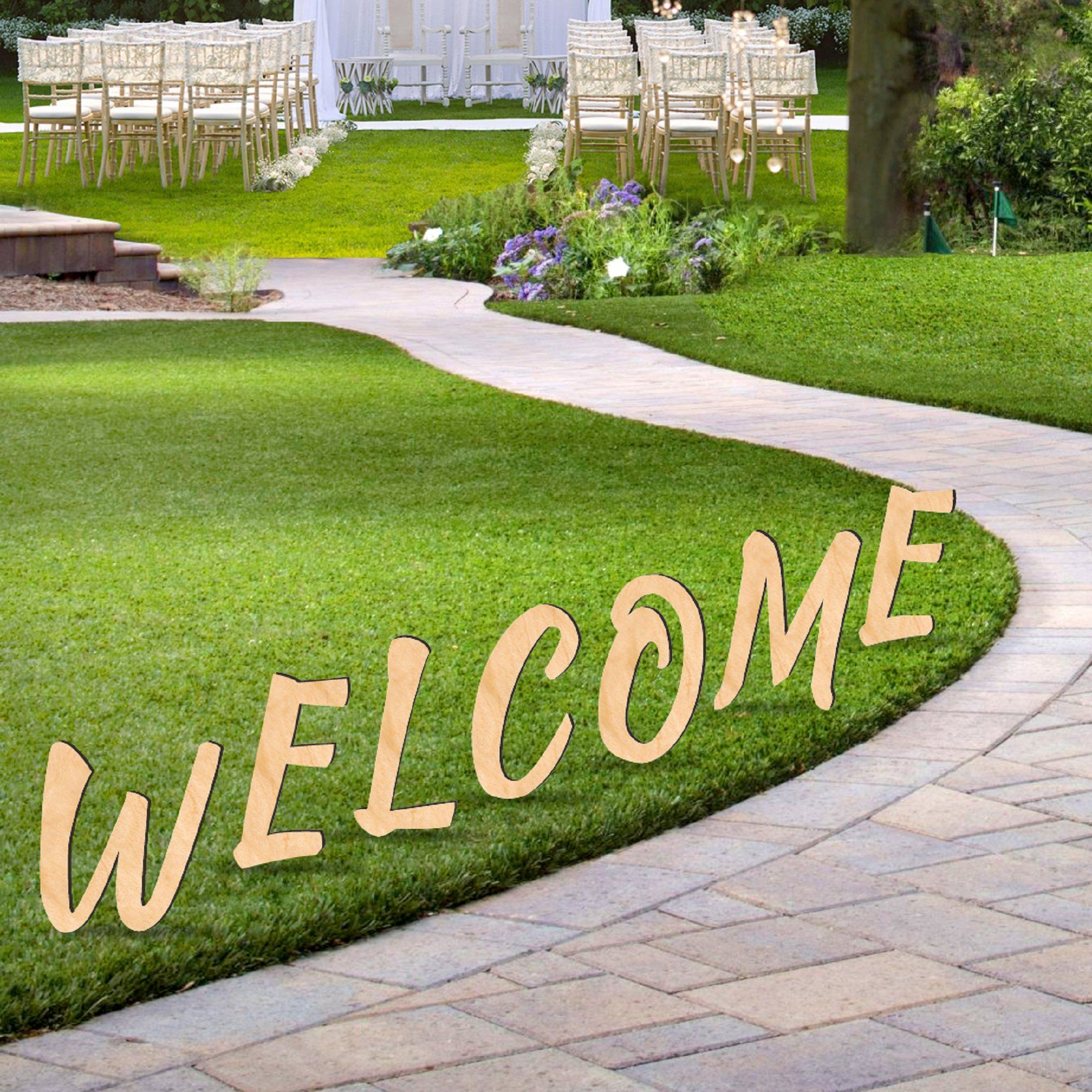 Welcome Sign Wooden Letters Free Standing Garden Party Decor 8911201m Monogram Picture Frames Wooden Letters Wooden Signs