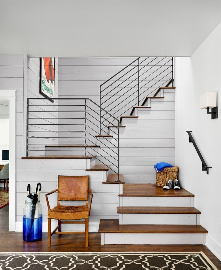Metal Stair Railings Staircase In Staircase Farmhouse With Metal - Contemporary stair railing banister