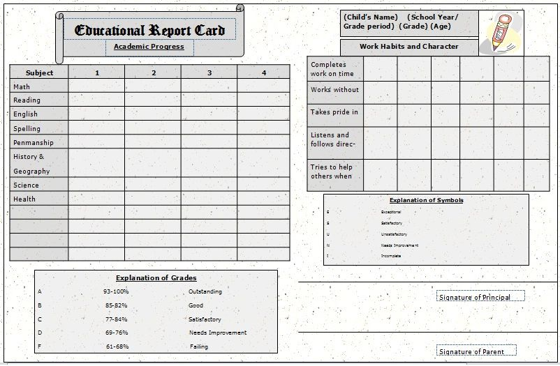 The Report Card  Template Sample  Classroom Ideas  Oo Weeee