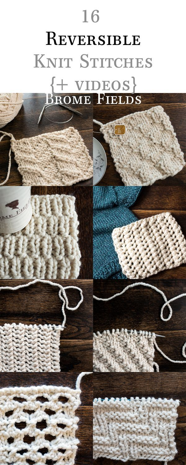 16 Reversible Knit Stitch eBook, plus Row by Row Video Tutorials by ...
