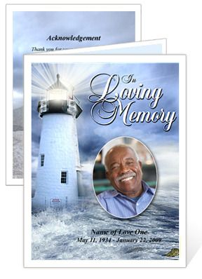 Memorial Cards  Lighthouse Funeral Card Template With Preprinted