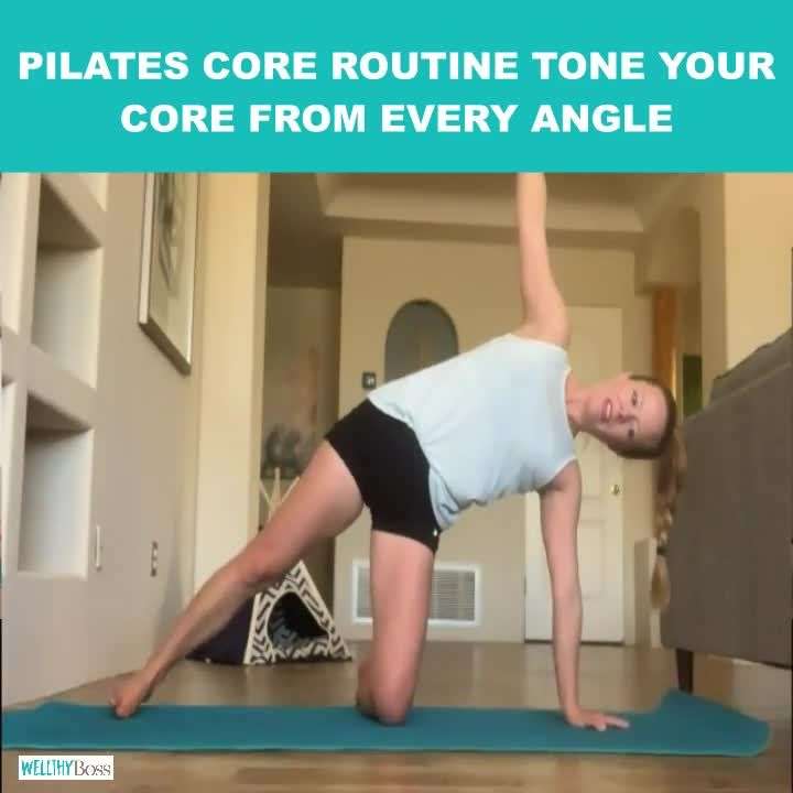 This Pilates core workout uses core strengthening exercises from mat Pilates to tone your core for a low impact workout at home. Click for this and other at home workouts for women (no equipment needed). Here's what a fellow viewer says: