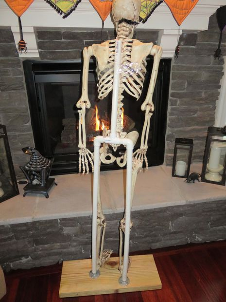 Build A Skeleton Stand So Your Skellies Can Stand Up Homemade Halloween Decorations Halloween Skeletons Halloween Props Diy