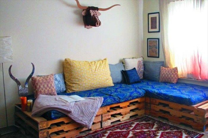 Idea arredamento con bancali soggiorno con divano in pallet e