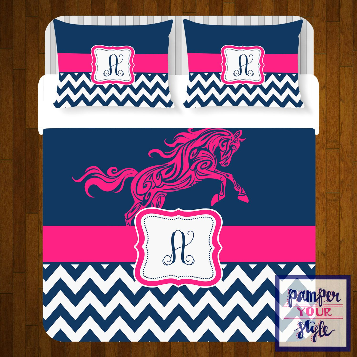Horse custom bedding personalized or monogrammed - Hot pink and blue bedding ...