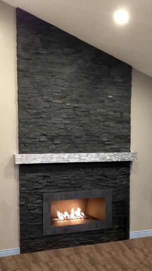 Stone Fireplace Makeover, Charcoal Slate Fireplace Hearth Tile