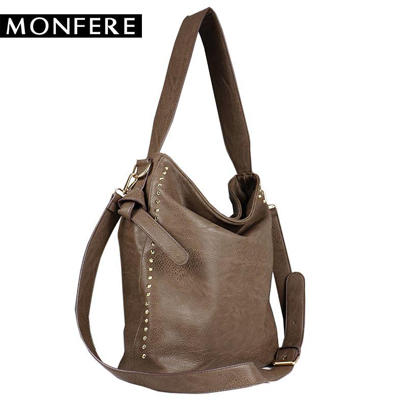 5d289181a0 Monfere large casual hobos women bag 2017 fashion ladies soft PU leather  rivets shoulder bag brand