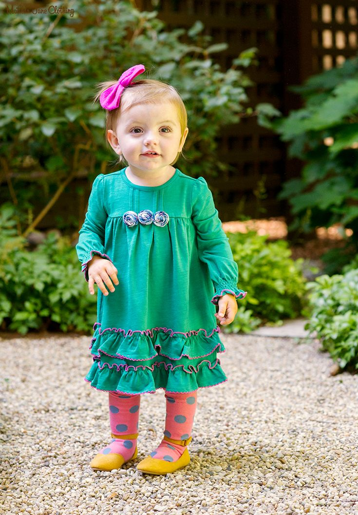 b9f1c0e1a0a0 Make Believe, Fall 2017; Under The Leaves Dress, Step Lightly Tights.  Green. Baby. Baby Style. Children's Style. Kid Style. Girls Clothing.  Unique.