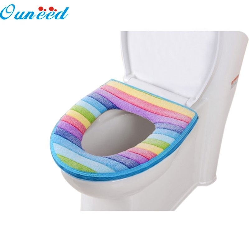 Ouneed Happy Home Toilet Seat Cover Bathroom Toilet Seat Washable Soft Warmer Mat Cover Pad Cushion 1pc Toilet Seat Cover Furniture Accessories Pad Cover