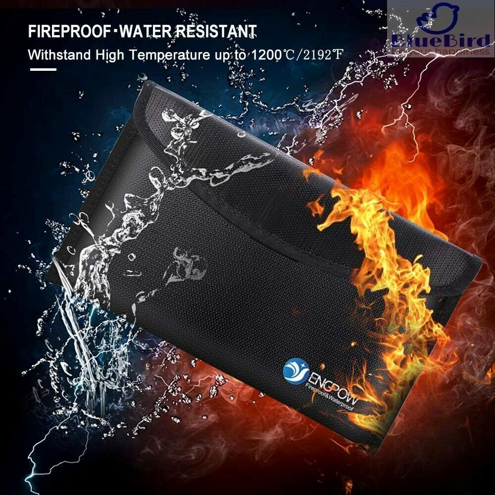 Fireproof Non-Itchy Silicone Bag for Money Jewelry Important Documents 10.2