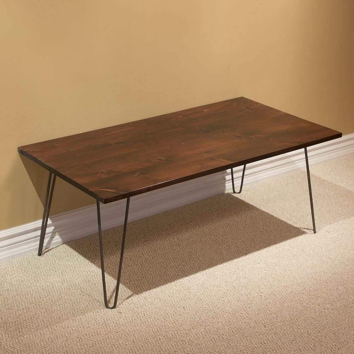 Spnc22 Solid Wood Pine Coffee Table W 2 Rod Hairpin Legs By