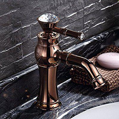 TougMoo Rose Gold Kupfer Heiße Und Kalte Zähler Bad Armatur Waschtisch  Armatur Wasserhahn Einloch Crystal Griff