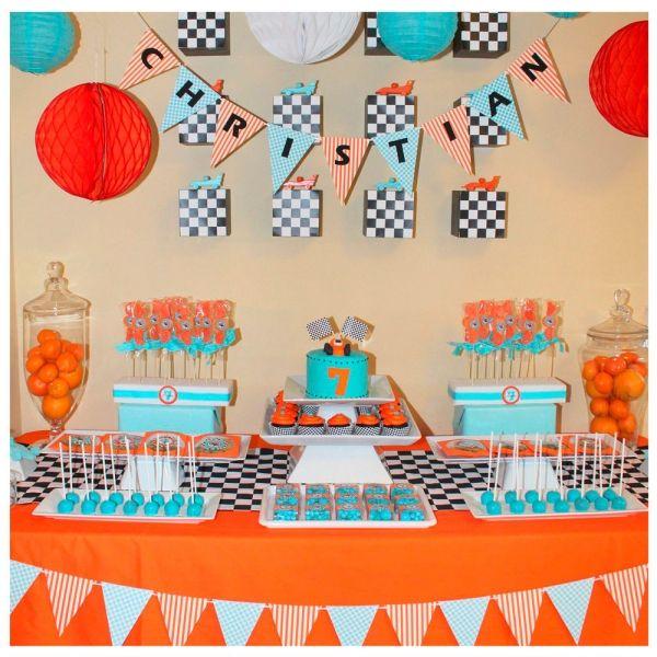 Kindergeburtstag deko jungs ideen rennautos thema party for Party deko kindergeburtstag