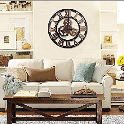 Hooyl pendule murale romaine nombre decoration industrielle design geante horloge murale couleur cuivre