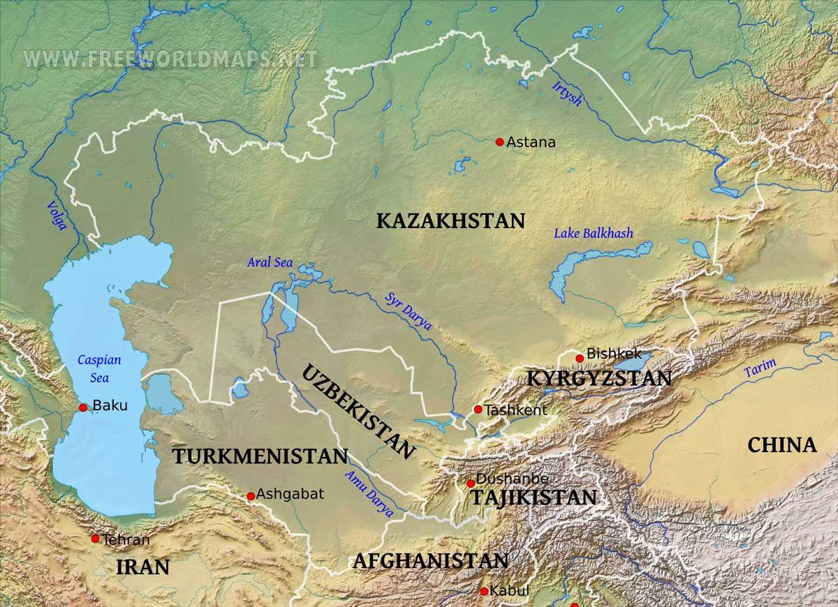 Central Asia Physical Map