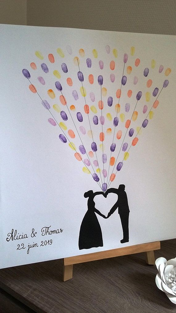 fingerprint tree balloons heart with 1 pad 4 colors available arbre empreinte mariage