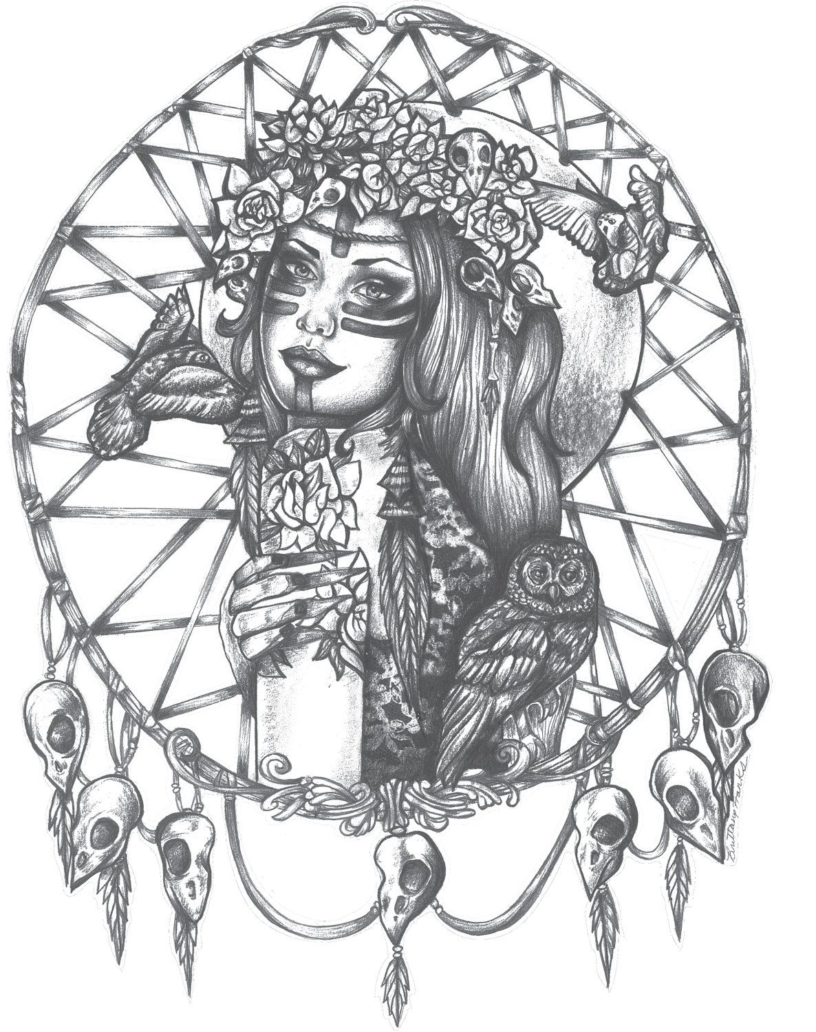 58f49b6b5 Listing - Native American Indian Girl In Skull Dreamcatcher drawing Print  bird skulls tattoo art 5 by 7 black and white This design is one that I did  in ...