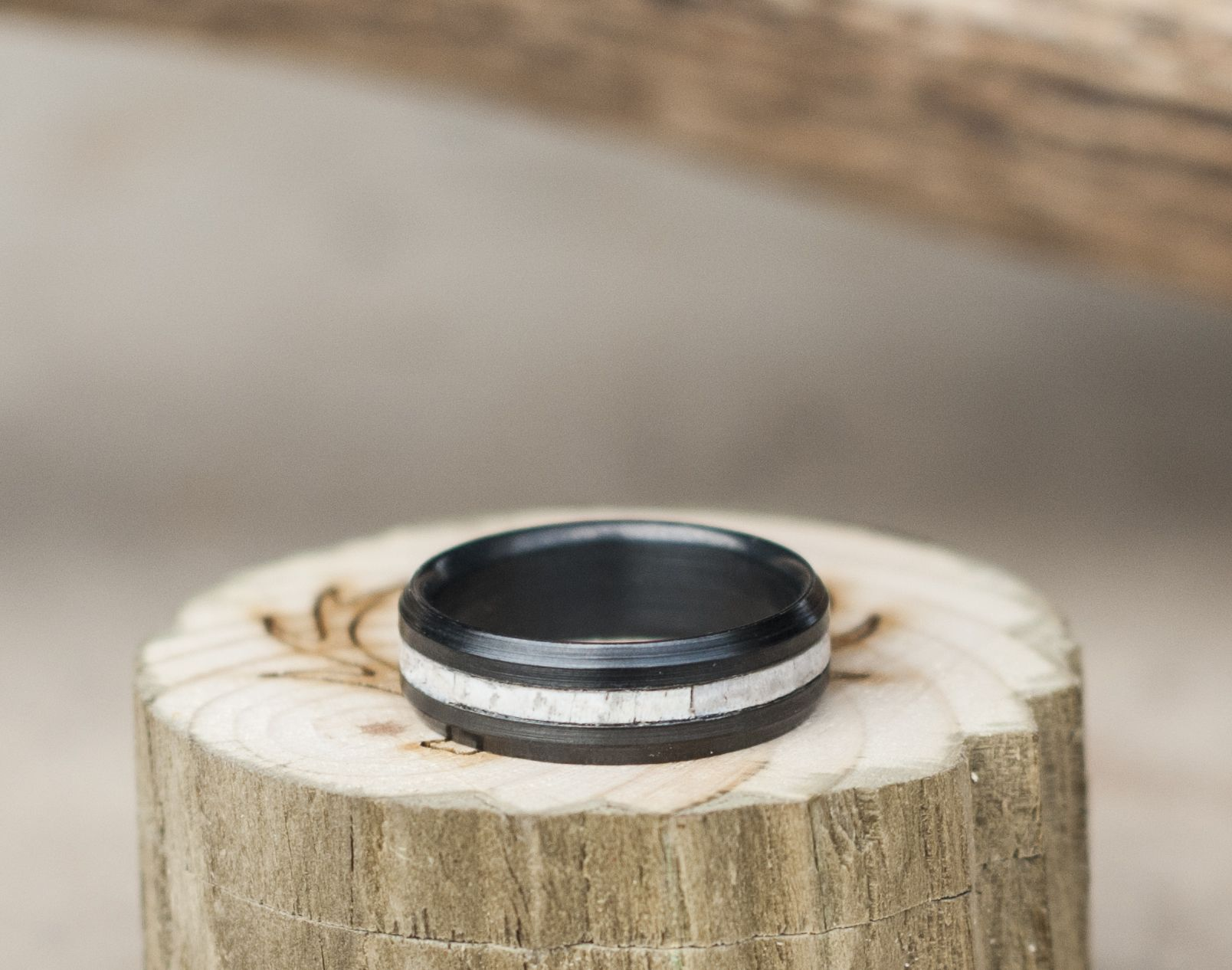dsc divided and rings tooth bands mens dark antler ivory elk metal men products band walnut wedding by s inlays