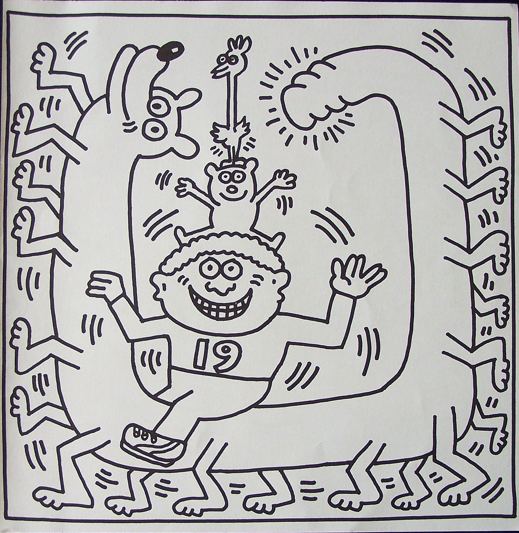 Keith Haring Kleurplaat Lithografie 19 En 20 Keith Haring Pop Art Pattern Coloring Pages