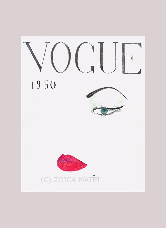 Fashion Wall Art Simple Watercolor Face 1950 Vogue Poster Vogue Cover Fashion Design Decoration