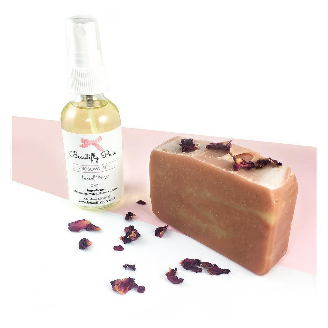 rosewater facial mist french pink clay handmade soap