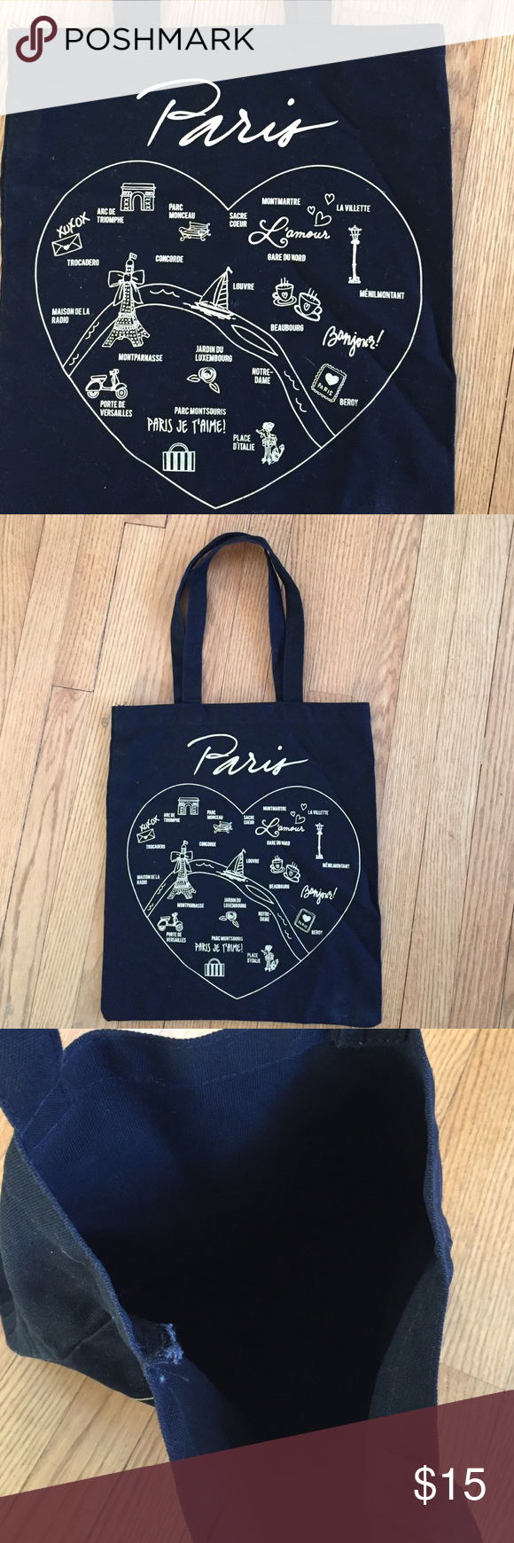 "Paris Totebag. ✈️ Canvas Paris tote bag, simple and cute.  Measures 14"" X 16"".  Gold lettering of Paris tourist spots. Bags Totes"